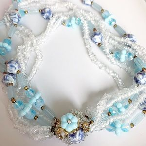 Vintage Jewelry - Hattie Carnegie glass bead crystal necklace 1950's